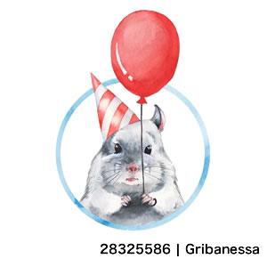 Chinchilla 1. Watercolor birthday card