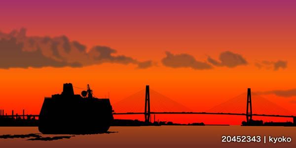 夕焼けの客船